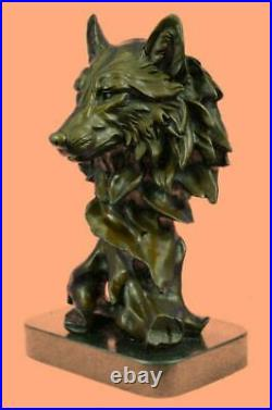 Bronze Sculpture, Hand Made Statue Animal Wolf Howling At The Moon Deal Art NR