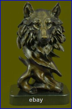 Bronze Sculpture, Hand Made Statue Animal Wolf Howling At The Moon Figurine Lrg