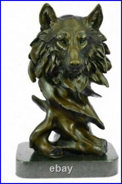 Bronze Sculpture, Hand Made Statue Animal Wolf Howling At The Moon Figurine NR