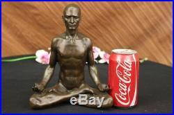 Bronze Sculpture, Hand Made Statue Art Nouveau MAN Yoga Meditation Figurine SALE