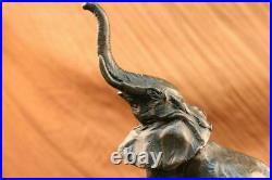 Bronze Sculpture, Hand Made Statue Art Nouveau Signed Milo Abstract Elephant