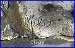 Bronze Sculpture, Hand Made Statue Art Nouveau Signed Milo Abstract Elephant NR