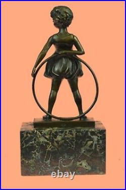 Bronze Sculpture, Hand Made Statue Children Girl Child Holding Hula Hoop DEAL