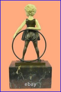 Bronze Sculpture, Hand Made Statue Children Girl Child Holding Hula Hoop Gift