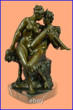 Bronze Sculpture Hand Made Statue Erotic Large Satyr Chasing Nymph Figurine Sale
