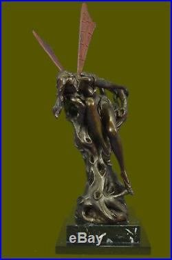 Bronze Sculpture, Hand Made Statue Fairy / Mythical SignedVitalehSemi Nude FF