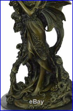 Bronze Sculpture, Hand Made Statue Original Art Deco Cherub Fairy Butterfly Angel