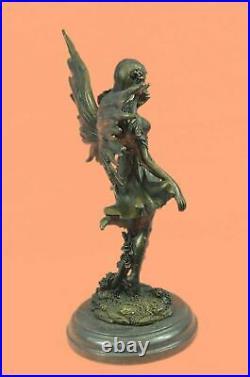 Bronze Sculpture, Hand Made Statue Original Decor Cherub Fairy Butterfly Angel