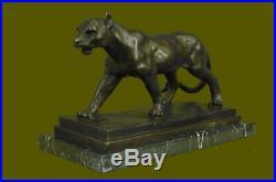 Bronze Sculpture Jaguar Cougar Mountain Lion Hand Made Wildlife Animal Statue NR