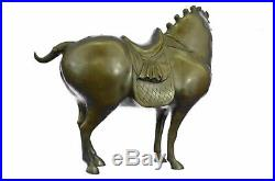 Bronze Sculpture Signed Tang Horse Hand Made by Lost Wax Method Statue Decor LRG