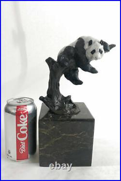 Bronze Sculpture Statue Art Deco Hot Cast Handcrafted European Made Panda Decor