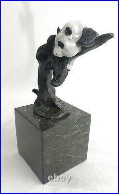Bronze Sculpture Statue Art Deco Hot Cast Handcrafted European Made Panda Figure