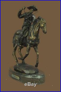 Bronze Sculpture Statue HAND MADE THOMAS COWBOY HORSE COUNTRY WESTERN FIGURINE