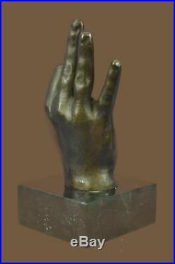 Bronze Sculpture Statue Hand Made Detailed Man Hand Hot Cast Figurine Figure Art