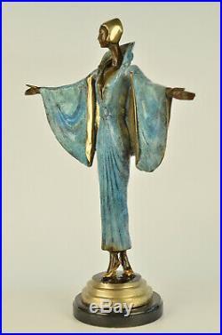 Bronze Sculpture Statue Hand Made Multi Color J. Erte Actress Model Showgirl Art