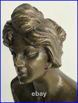 Bronze Sculpture Statue Hot Cast Sexy Maiden By Emmanuel Villanis Hand Made Sale