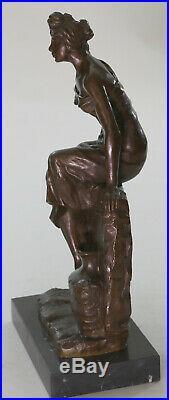 Bronze Sculpture Statue Hot Cast Sexy Maiden Emmanuel Villanis Hand Made Decor