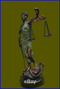 Bronze Sculpture Statue Lady of Blind Justice Scales Marble Base Hand Made SALE