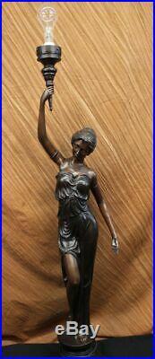 Bronze Sculpture Statue Sexy Goddess Torchiere Floor Lamp Hand Made Museum Art