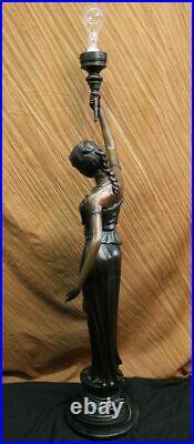 Bronze Sculpture Statue Sexy Goddess Torchiere Floor Lamp Hand Made Museum Artwo