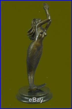 Bronze Sculpture of Mermaid Sea Ocean Nautical Hand Made Masterpiece Statue Art