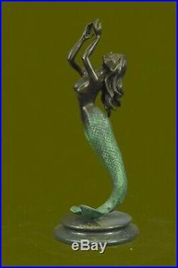 Bronze Sculpture of Mermaid Sea Ocean Nautical Hand Made Masterpiece Statue EG