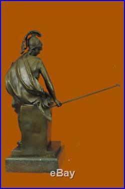 Bronze Statue Hand Made Greek Roman Goddess of War Marble Base Figurine Deal Art