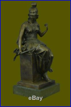 Bronze Statue Hand Made Greek/Roman Goddess of War Marble Base Figurine Decor NR
