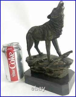 Bronze Statue WOLF Whining Mascot Garden sculpture Yard Gift Decor Hand Made Art