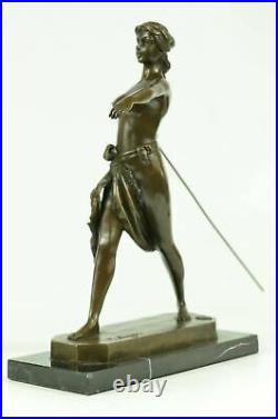 Diana The Huntress Nude Signed Real Hotcast Bronze Statue Sculpture Hand Made