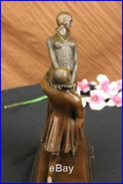 Elegant Bronze Statue Lovers Hand Made Romance Sculpture Figurine Deco LARGE ART
