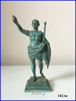 Emperor Augustus Figurine Statue in Bronze (Green) Made in Europe (5.5in/14cm)
