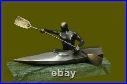 European Made Artwork Nude Female Maiden Canoe Bronze Marble Statue Decor Gift