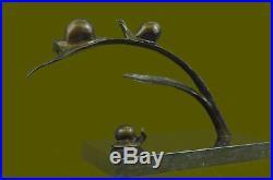 European Made Bronze copper Grasshopper Snails Tree leaf lucky Auspicious statue