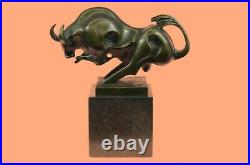 European Made Marble Pure Bronze Strong Abstract Bull Ox Art Statue Decorative