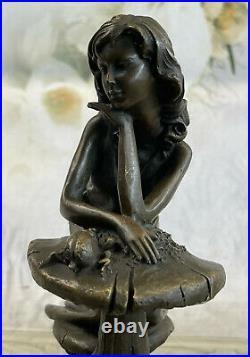 European Made e Bronze Tone Fairy Laying On A Mushroom Figurine Statue Sale