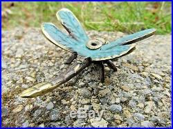 Fair Trade Hand Made Bronze Metal Art Dragonfly Incense Stick Holder Statue