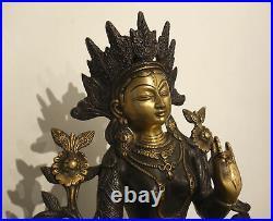 Fine White Tara Statue Made from Bronze With Feuervergoldetem Face Tibet 9,5 KG