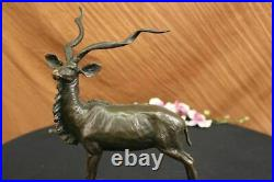 French Art Deco Bronze Statue Figure of a Gazelle or Deer Hand Made Sculpture