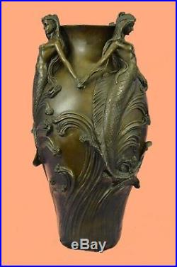 Gallery 3 Bronze Mermaids Dancing Sculpture Statue & Vase RARE Hand Made DEAL