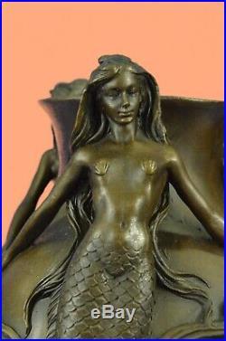 Gallery 3 Bronze Mermaids Dancing Sculpture Statue amp Vase RARE Hand Made