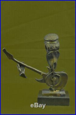 Guitar Player Jazz Bronze Figurine Hand Made LostWax Method Sculpture Statue Art