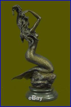 HandMade Hand Made by Lost Wax Method Mermaid Sea Nautical Bronze Statue Deco