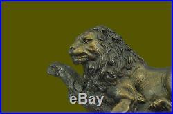 Hand Made 20china fengshui bronze anger animal lion roar statue Sculpture