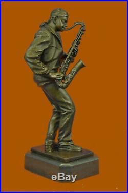 Hand Made American Black Saxophone Player Musician Bronze Sculpture Statue Sale