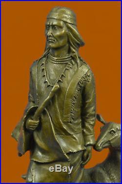 Hand Made American Indian Warrior Art Figurine Figure Sculpture Statue Bronze