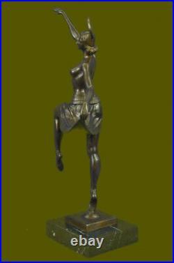 Hand Made Art Nouveau Museum Quality Bronze Dancer Showgirl Sculpture Statue Art