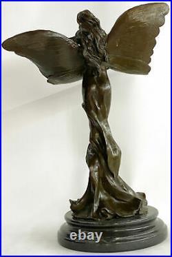 Hand Made Art Nouveau Woman Figural Bronze Wax Seal Sculpture Statue Figure