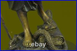 Hand Made BRONZE SCALES OF JUSTICE SEATED SCULPTURE BLIND STATUE ART DECOR DEAL