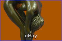 Hand Made BRONZE SCULPTURE NUDE GIRL FRENCH STATUE SIGNED FIGURINE FIGURE DECOR